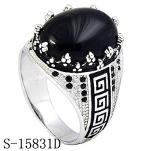 Fashion Jewelry 925 Sterling Silver Ring with Black Agate