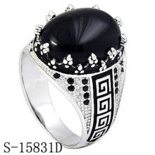 Moda jóias 925 anel de prata esterlina com ágata preta