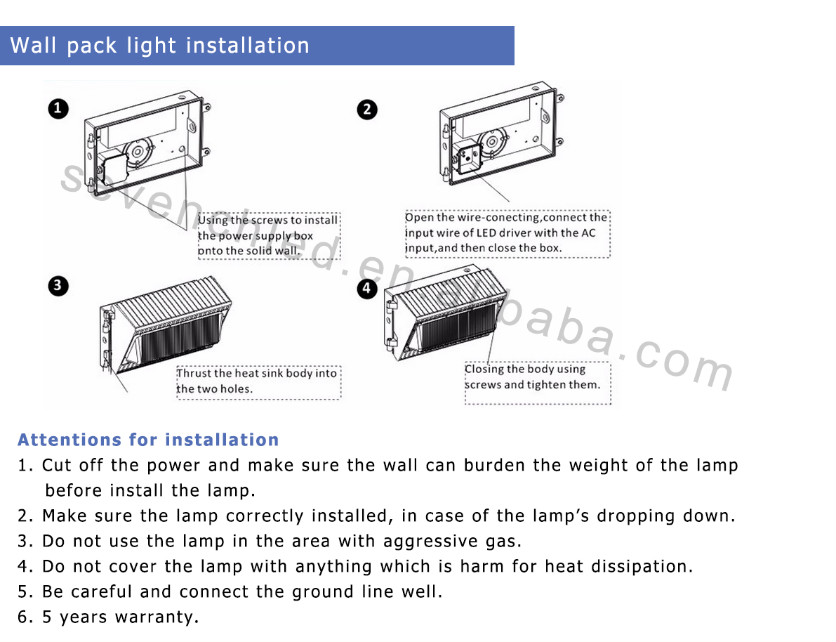 Installation of led wall pack light
