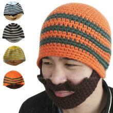 Классический дизайн Все ручной вязание крючком трикотажной бороды Beanie