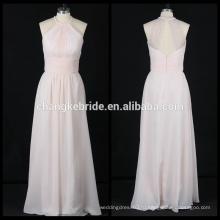 Длинные Шифон Холтер Невесты Платье Без Рукавов Со Складками Вечернее Платье Платье