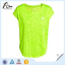 Moda Neon Color Plain T-Shirts Meninas Desporto