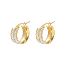 E-613 xuping fashion High quality 24K gold color Rhinestone Stainless Steel simple Women's Hoop  Earrings