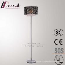 Lampe de plancher creuse en métal de fournisseur chinois avec la suspension en cristal