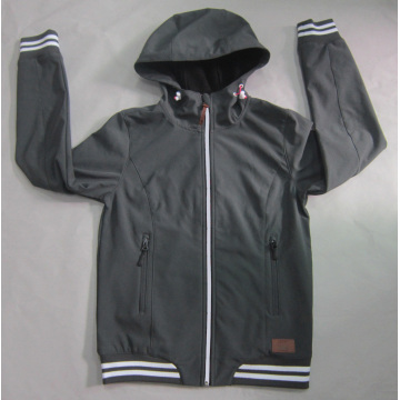 Yj-1068 Boys Mens Black Waterproof Breathable Microfleece Hooded Softshell Jacket
