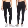 Сексуальные девушки фитнес Йога брюки с черной сеткой и светоотражающими полосками