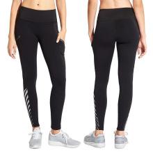 Pantalon de yoga sexy de filles avec maille noire et bandes réfléchissantes