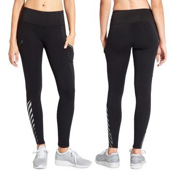 Pantalones de yoga de fitness sexy para niñas con malla negra y rayas reflectantes