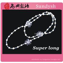 cadena antigua de múltiples cadenas de piedras preciosas semi grandes imitación faux fornido de perlas artificiales nuevo diseño largo collar de joyería de moda
