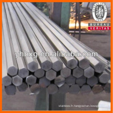 Tige hexagonale de première qualité acier inox recuit brillant
