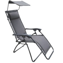 Outdoor furniture sling chair/lounge with a sunshade