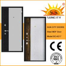 Porte en MDF à l'intérieur de la porte en acier pour l'extérieur (SC-A217)