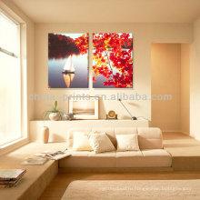 2015 Новый стиль Естественная осень Декорации кленовый лист & Парусная лодка Холст печать