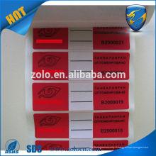 Ruban anti-effraction adhésif personnalisé anti-effraction joint d'étanchéité étiquette pour joint carton fabricant d'imprimante