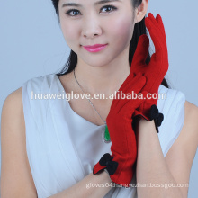 Fashion bowknot decorate wool touch screen glove for smartphone