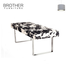 Custom bed end stool bench ottoman with stainless steel legs