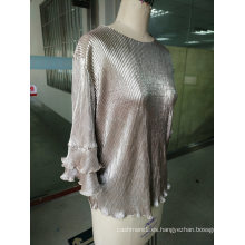 Spring Shiny Pleated Plain Falbala Sleeve Mujer Tops