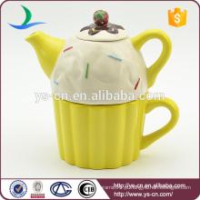Pote de chá de cerâmica por atacado com projeto do bolo