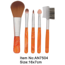 5pcs small print orange plastic handle animal/nylon hair makeup brush tool set