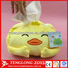 Home decoration cute smiling plush tissue box with applique