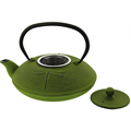 Japanese Style Green Cast Iron Teapot With Cups and Trivet
