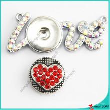 Moda jóias botão snap amor colar