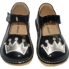 Black Patent Stone Shoes with Sliver Crown