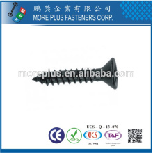 Made in Taiwan Screw Fabricant M1.0-6.0 Acier inoxydable Black Coating Flat Head Self Tapping Screw
