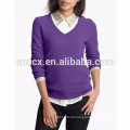 15PKCAS13 2016 women's trendy silk cashmere v neck sweater