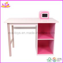 Bureau d'étude en bois, avec étagère à livres et rangement (WO8G087)