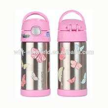 As crianças levadas embora rosa garrafa térmica a vácuo bonito