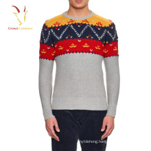 Latest design jersey pullover crew neck men's intarsia wool sweaters