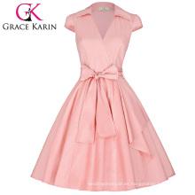 Grace Karin Cap manga cuello de la solapa de cuello en V Vintage retro de alto-estirable vestido de fiesta CL008953-4