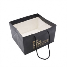 China Supplier Custom Hot Stamping Printed Logo Luxury Gift Paper Bags With Ribbon Handles for Retail Store Shopping