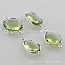 Hecho a mano 925 plata esterlina verde amatista cuarzo gemstone bisel conectores