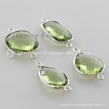 Handgefertigte 925 Sterling Silber Grüne Amethyst Quarz Edelstein Lünette Connectors