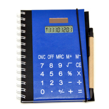 Calculadora de notebook Kraft com caneta anexada
