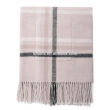 Inner Mongolia manufacturers winter scarf swi0046 double belt pocket plaid woolen lady warm thick shawl