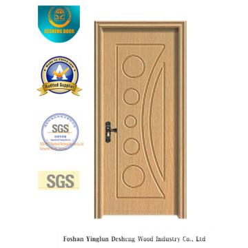 Puerta de MDF de color blanco estilo simple con madera maciza para interiores (xcl-818)
