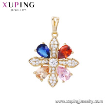 32898 Xuping top grade new style delicate snowflake gold pendant Environmental Copper jewelry pave diamond for women
