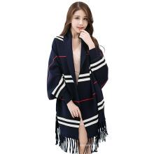2017 Inverno cor sólida listrado turco pashmina xale indiano falso cashmere borla xales ponchos para mulheres com punho