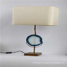 Bule ágata lámpara de mesa de decoración con pedestal de metal