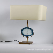 Bule agate decor table lamp with metal pedestal
