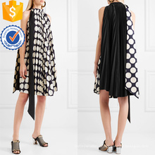 Preto e branco plissado bolinhas mangas mini vestido de verão manufatura grosso moda feminina vestuário (t0282d)