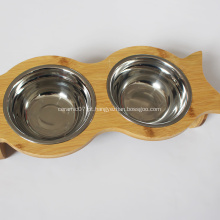 Cachorro-quente de bambu para animais de estimação e tigelas de água