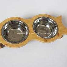 Tigelas de água e alimentos para animais de estimação de cachorro elevado de bambu
