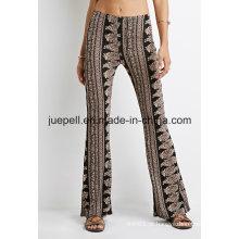 Ornamentado Paisley Flared calças com uma cintura elástica