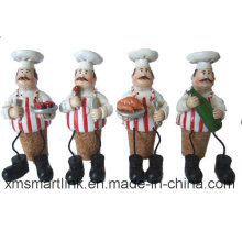Poly Resin Chef Wine Stopper, Chef Decoration Bottle Stopper