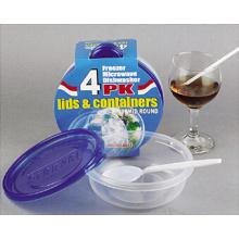 Plástico redondo para llevar Contenedor de alimentos para microondas 15oz
