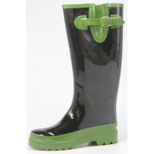 Comfortable shining Black And Green Wellington Rubber Boots